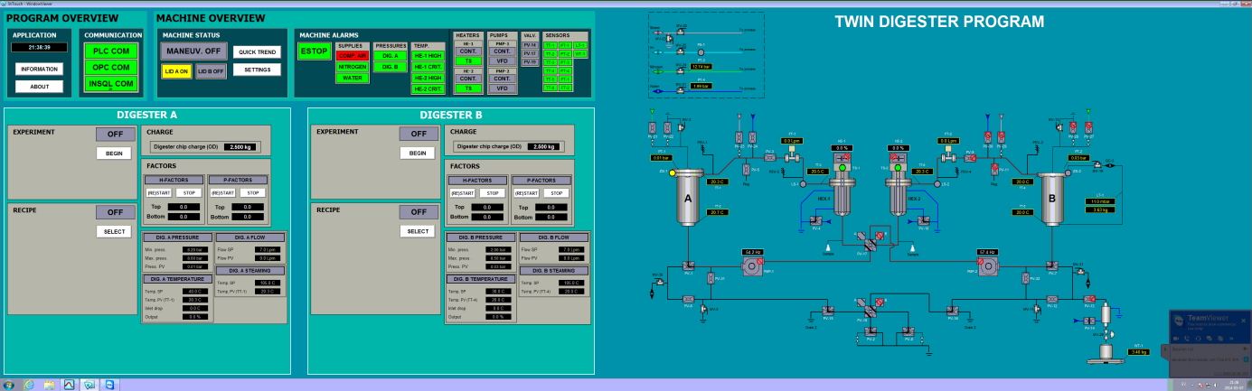 Double screen HMI program for a recycle digester with two vessels (twin type)